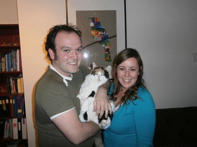 Jessica, Jean-Philippe & Feebee the cat